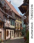 Small photo of Half-timbered houses on a narrow street in Obernai, Alsace, France