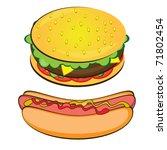 Appetizing Hotdog and Sandwich. Vector illustration on white background - stock vector