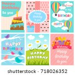 cute birthday card set. vector... | Shutterstock .eps vector #718026352