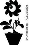 black silhouette of magic... | Shutterstock .eps vector #718036006
