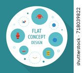 flat icons pincushion  meter ... | Shutterstock .eps vector #718039822
