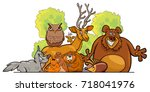 cartoon illustration of forest... | Shutterstock . vector #718041976
