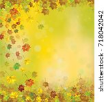 vector autumnal leaves  ... | Shutterstock .eps vector #718042042