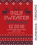 ugly sweater christmas party... | Shutterstock .eps vector #718042942