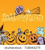 halloween hand drawn characters ... | Shutterstock .eps vector #718043275