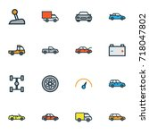 car colorful outline icons set. ... | Shutterstock .eps vector #718047802