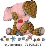 pig. cartoon farm animal. cute... | Shutterstock . vector #718051876