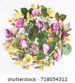 flowers composition. frame made ... | Shutterstock . vector #718054312