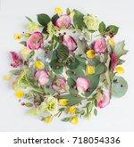 flowers composition. frame made ... | Shutterstock . vector #718054336