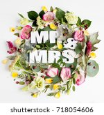 flowers composition with word... | Shutterstock . vector #718054606