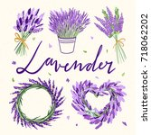 lavender wreaths and flowers.... | Shutterstock .eps vector #718062202