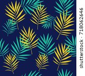 tropical palm leaves seamless... | Shutterstock .eps vector #718062646