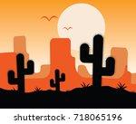 desert landscape  grand canyon...   Shutterstock .eps vector #718065196
