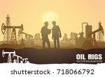 vector oil rig industry... | Shutterstock .eps vector #718066792