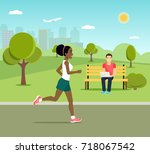 young man sitting on the bench ... | Shutterstock .eps vector #718067542