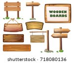 cartoon west wood banner set.... | Shutterstock .eps vector #718080136