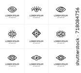 set of black linear eye icon... | Shutterstock .eps vector #718084756