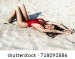 close up beautiful luxury slim... | Shutterstock . vector #718092886