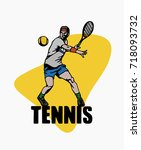 tennis player vector... | Shutterstock .eps vector #718093732