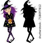 halloween vector illustration... | Shutterstock .eps vector #718097812