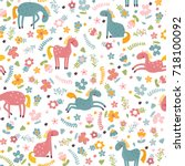 seamless pattern with pink and... | Shutterstock .eps vector #718100092