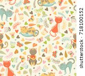 seamless pattern with cute... | Shutterstock .eps vector #718100152