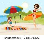 vector illustration of a girls... | Shutterstock .eps vector #718101322