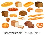 Set vector bread icons. Rye, whole grain  and wheat  bread, pretzel, muffin, pita , ciabatta,  croissant,  bagel, toast bread, french baguette for design menu bakery.