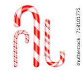3d candy cane set isolated on... | Shutterstock .eps vector #718101772