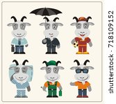 set funny goat in different... | Shutterstock .eps vector #718109152