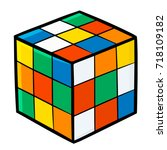 funny and cute cube puzzle for... | Shutterstock .eps vector #718109182