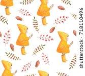 watercolor seamless pattern... | Shutterstock . vector #718110496