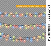 christmas lights isolated... | Shutterstock .eps vector #718111495