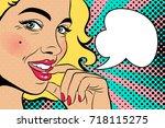 sexy blonde pop art woman with...   Shutterstock .eps vector #718115275