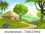 a hut by the road in the middle ... | Shutterstock .eps vector #718117042