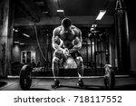 muscular fitness man preparing...   Shutterstock . vector #718117552
