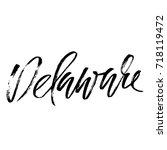 delaware. modern dry brush...   Shutterstock .eps vector #718119472
