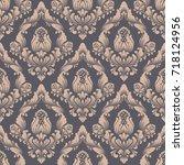 vector damask seamless pattern... | Shutterstock .eps vector #718124956