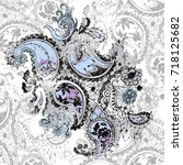 paisley hand drawn background...   Shutterstock . vector #718125682