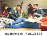 happy young friends having fun... | Shutterstock . vector #718128535