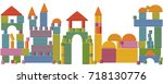 toy blocks city skyline  ... | Shutterstock .eps vector #718130776