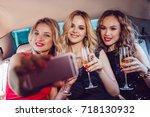 pretty women having party in a... | Shutterstock . vector #718130932
