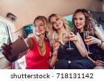pretty women having party in a... | Shutterstock . vector #718131142