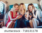 pretty women having party in a... | Shutterstock . vector #718131178