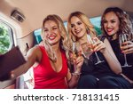 pretty women having party in a... | Shutterstock . vector #718131415