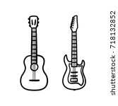 acoustic and electric guitars...   Shutterstock .eps vector #718132852