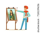 male painter artist character... | Shutterstock .eps vector #718139656