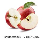 red apple with slices isolated... | Shutterstock . vector #718140202