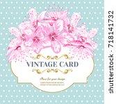 invitation card of color sacura ... | Shutterstock .eps vector #718141732