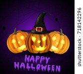 scary jack o lantern halloween... | Shutterstock .eps vector #718142296
